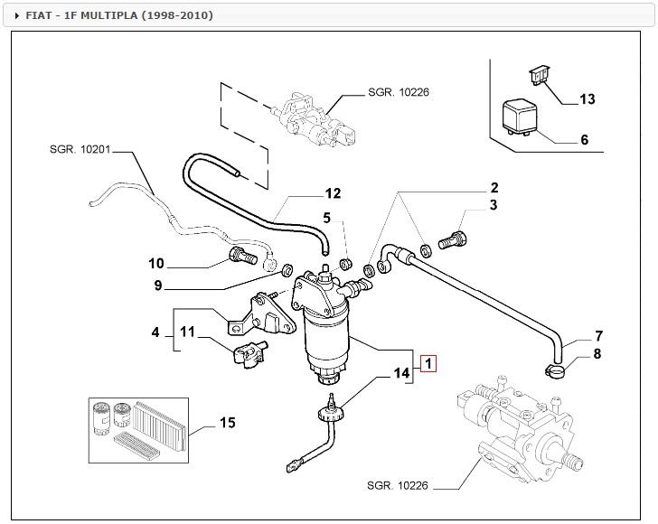 filtro gasolio completo ufi 5514500 per 51779083 fiat