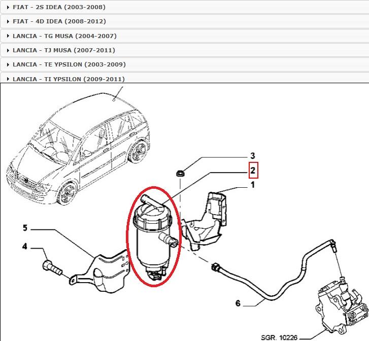 Original UFI carburant filtre carburant filtre Lancia Jeep