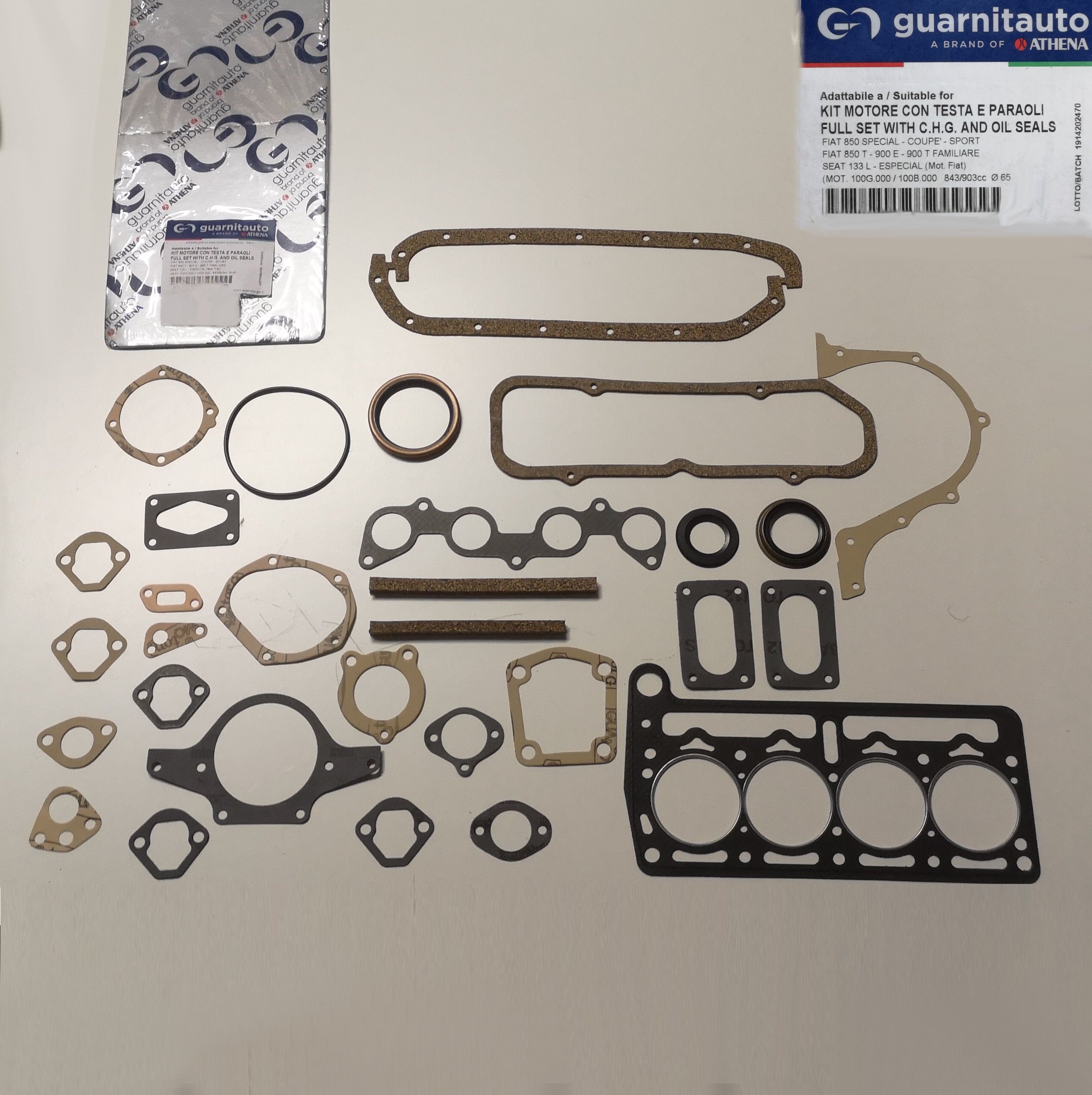 FIAT 850 BN SPORT SPECIAL// KIT GUARNIZIONI MOTORE// ENGINE GASKETS SET