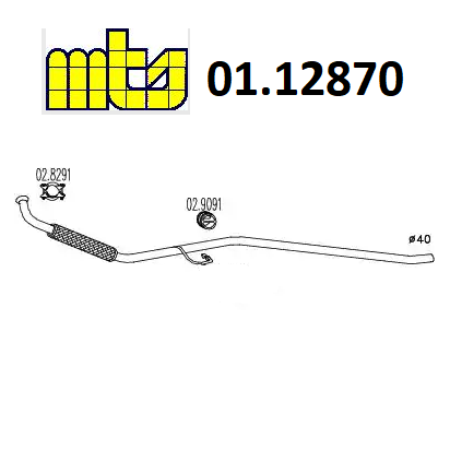 FRONT EXHAUST GAS PIPE FIAT PANDA 30 MTS FOR 4469639