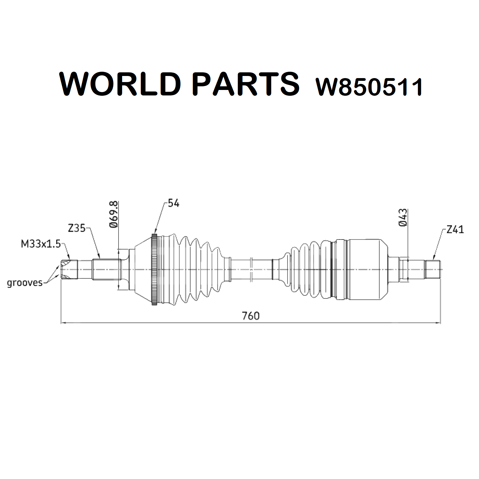 FRONT LEFT HALF-AXLES FIAT DUCATO WORLD PARTS FOR 1478551080