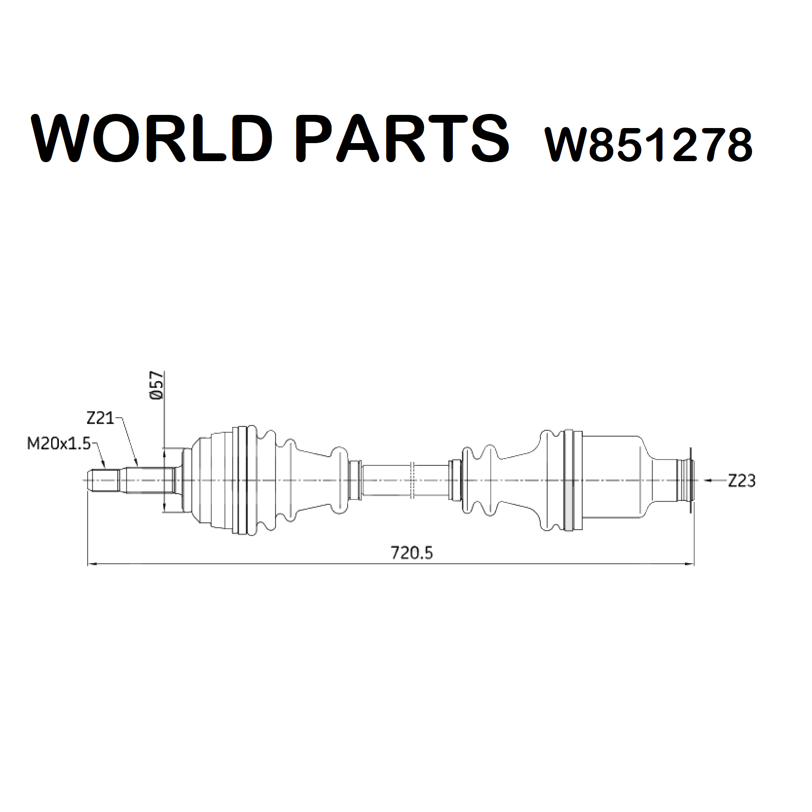 FRONT AXLE SHAFT RIGHT RENAULT CLIO - KANGOO WORLD PARTS FOR 7701352775