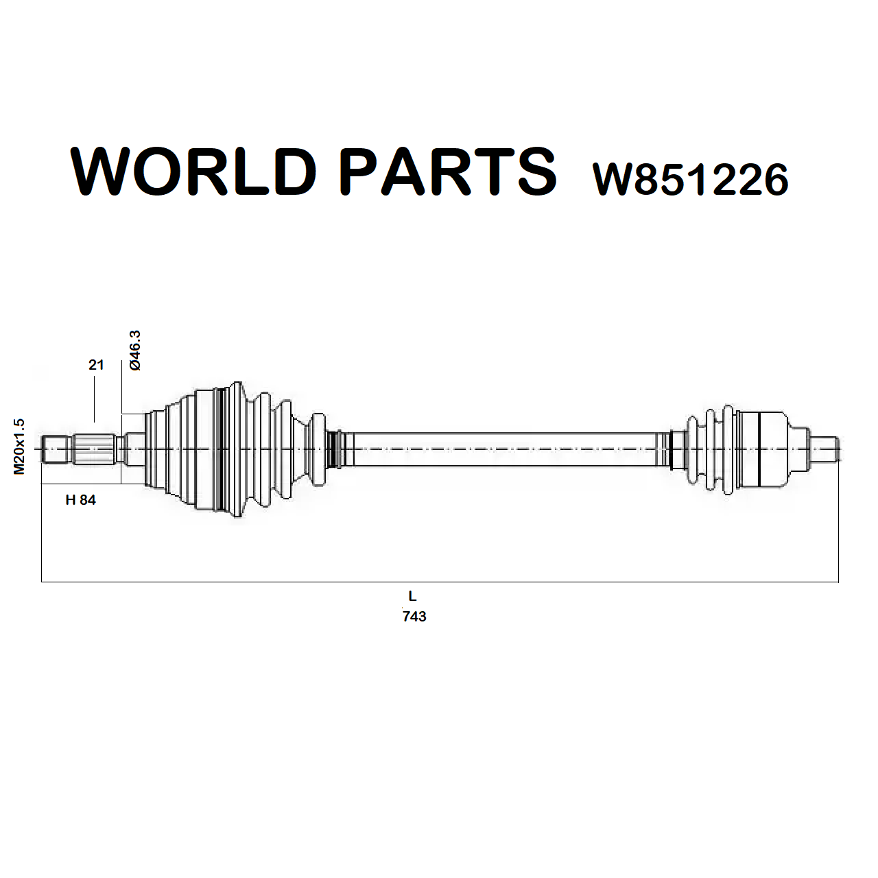 FRONT HALF-AXLES RIGHT RENAULT TWINGO 1.2 WORLD PARTS FOR 8200231949
