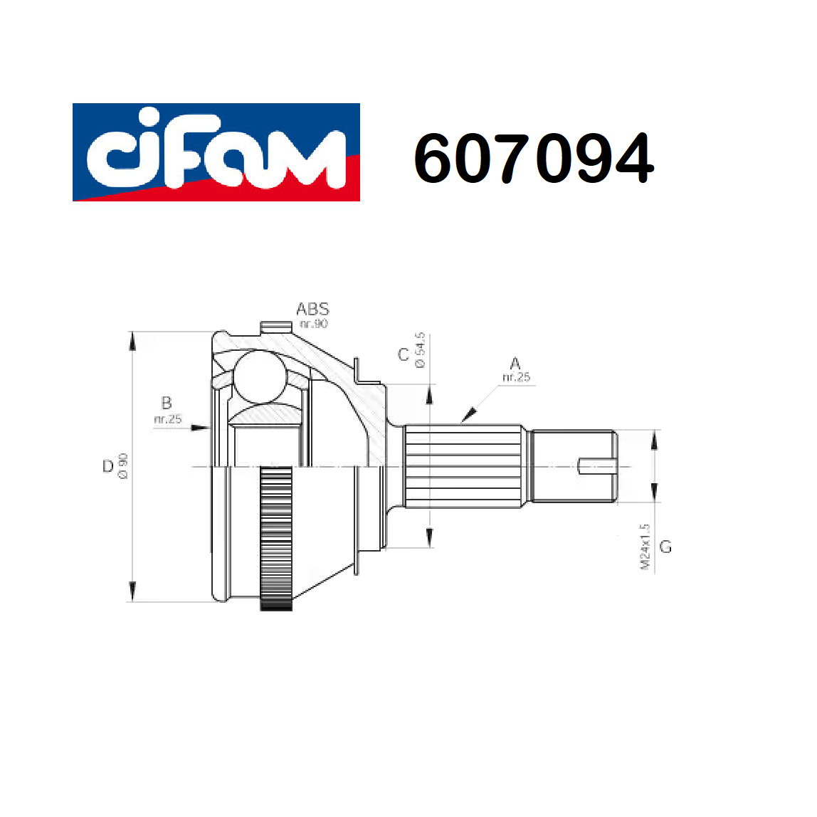 HALF-AXLES JOINT WHEEL SIDE FIAT CROMA - LANCIA THEMA CIFAM FOR 82443532