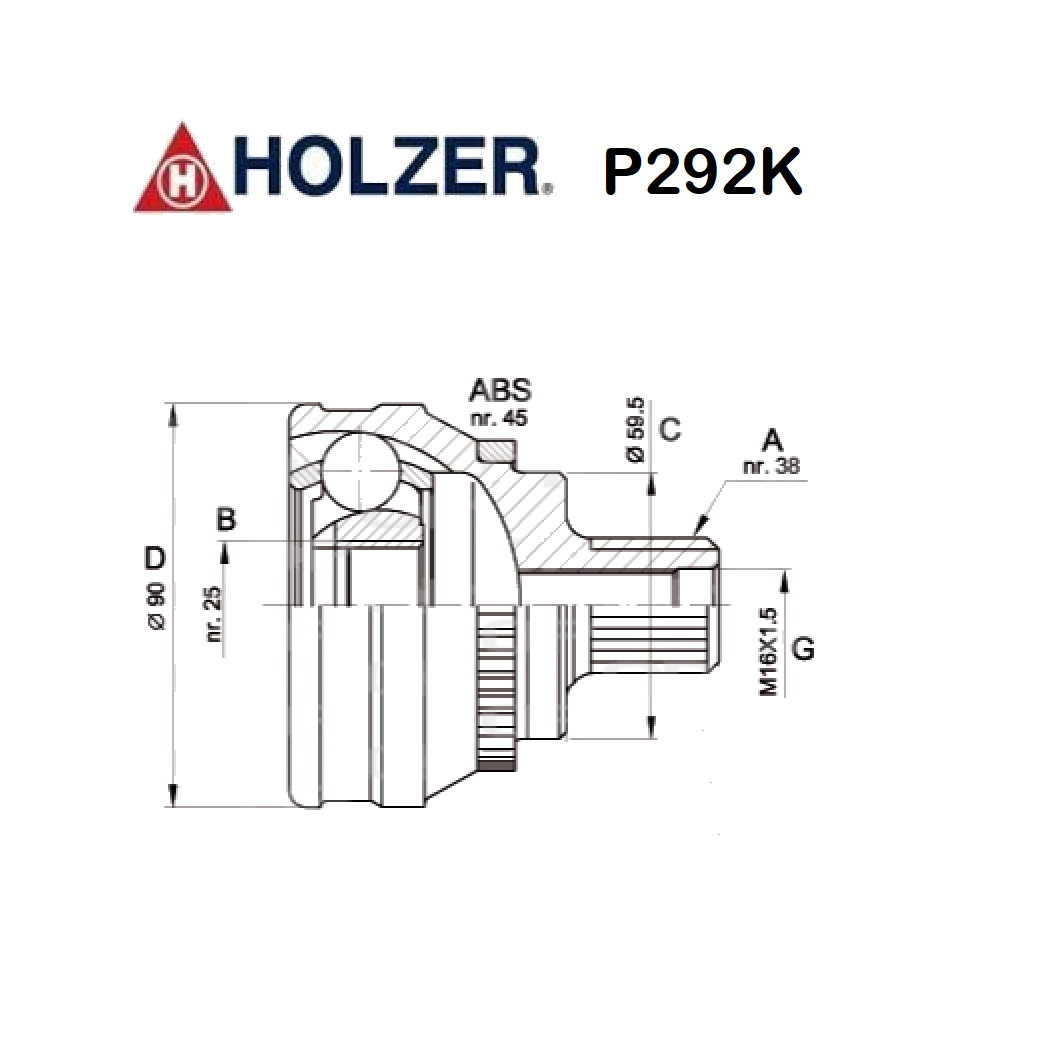 HALF-AXLES JOINT WHEEL SIDE AUDI A6 - 80 - 100 - 200 HOLZER FOR 443407305B