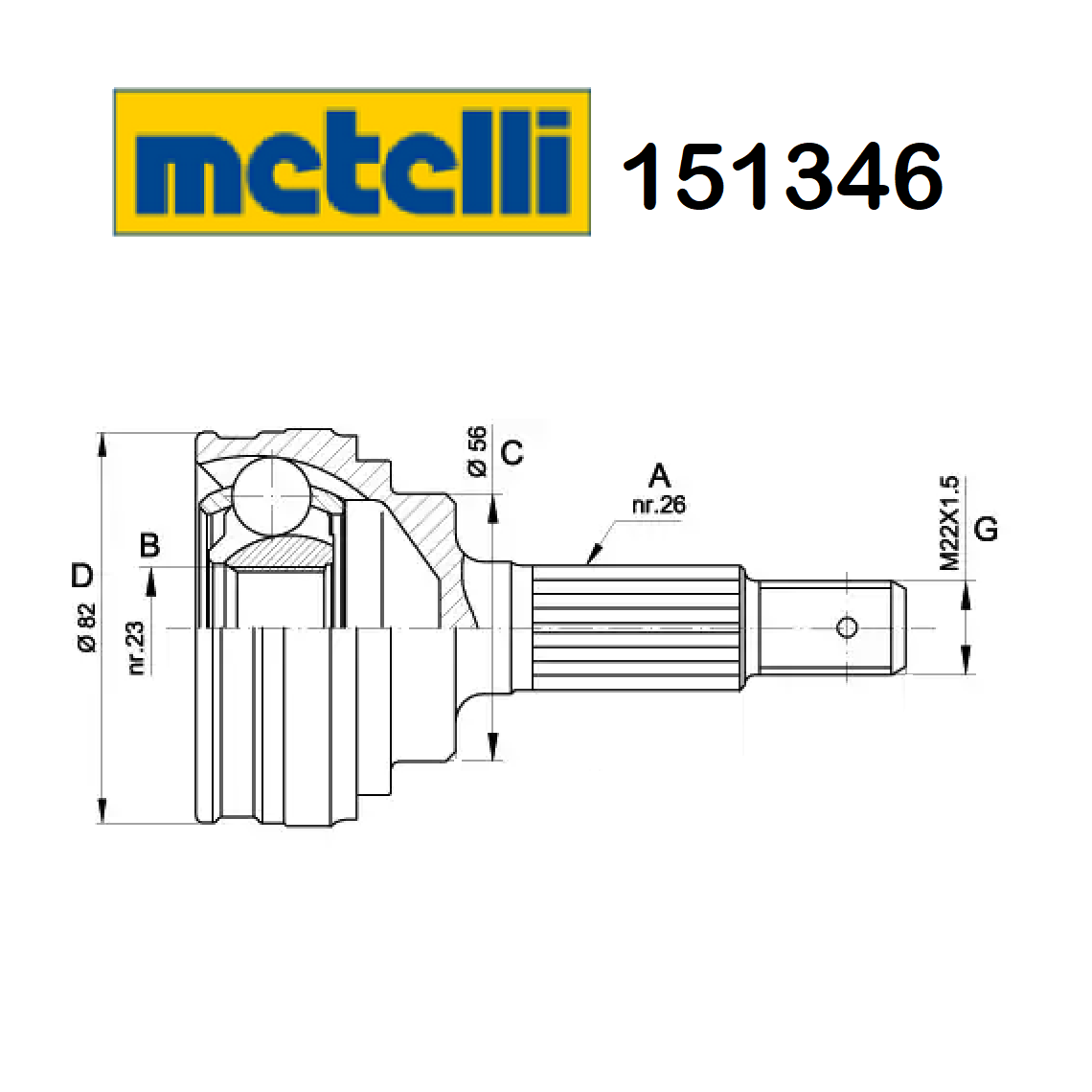 HALF-AXLES JOINT WHEEL SIDE TOYOTA COROLLA - CARINA METELLI FOR 4341020450