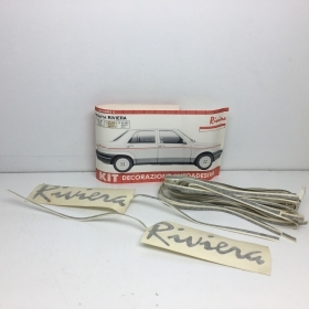 "KIT ADHESIVE REAR SIDE ""RIVIERA"" WHITE BLACK FIAT REGATA"