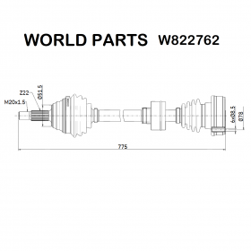 FRONT AXLE SHAFT DX SEAT CORDOBA - VW GOLF - JETTA WORLD PARTS FOR 191407272A