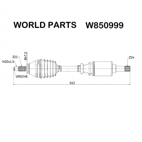FRONT AXLE SHAFT SX CITROEN C15 - VISA - PEUGEOT 205 WORLD PARTS FOR 95591073