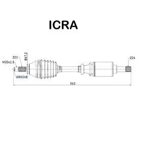 FRONT AXLE SHAFT SX CITROEN C15 - VISA - PEUGEOT 205 ICRA FOR 95591073