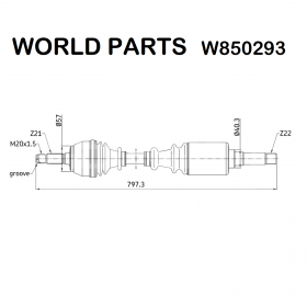 FRONT AXLE SHAFT DX CITROEN AX - SAXO - PEUGEOT 106 WORLD PARTS FOR 96048667