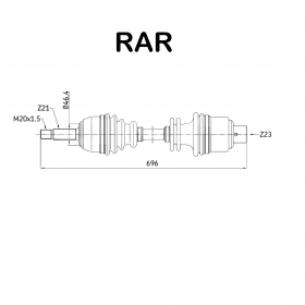 FRONT HALF-AXLES RIGHT RENAULT CLIO RAR FOR 7701352224