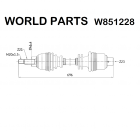 FRONT HALF-AXLES RIGHT RENAULT CLIO WORLD PARTS FOR 7701352224