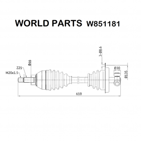 FRONT HALF-AXLES LEFT RENAULT SUPER 5 WORLD PARTS FOR 7701349848