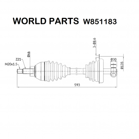 FRONT HALF-AXLES LEFT RENAULT SUPER 5 - RAPID WORLD PARTS FOR 7701349741