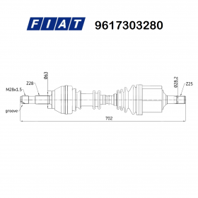 FRONT HALF-AXLES LEFT FIAT DUCATO - ORIGINAL TALENT 9617303280