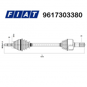 FRONT HALF-AXLES RIGHT FIAT DUCATO - ORIGINAL TALENT 9617303380