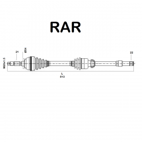 FRONT HALF-AXLES RIGHT CITROEN SAXO - PEUGEOT 106 1.6 RAR FOR 32737L