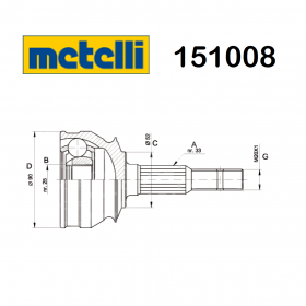 HALF-AXLES JOINT WHEEL SIDE OPEL ASCONA - KADETT METELLI FOR 90147008